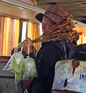 ... en af en toe kon ook in de bus verkocht worden, zoals hier gegrilde kip en mango.