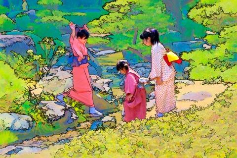 Twee jaar geleden: meisjes spelen tijdens de pauze van een theeceremonie in de Japanse tuin van Fukuoka.