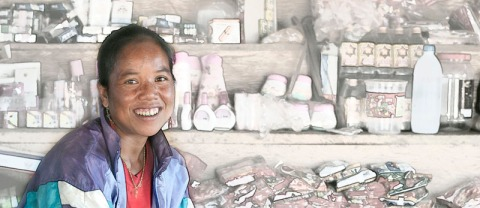 Deze foto zal de lezer bekend voorkomen, dit was in het zuiden van Laos en dus niet zo lang geleden. Verkoopster met haar nering.