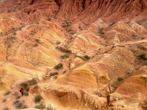 Grote verschillen in landschap. Niet ver van bossen met sparren en coniferen hier een droog gebied waar allerlei erosiedingen gebeurd zijn. Deze plek heeft de naam Сказка gekregen: sprookje.