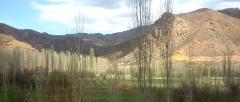 Natuur in de buurt van de Iraans-Turkmeense grens.
