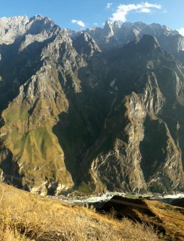 Een indruk van de hoogteverschillen: de toppen steken ver boven de 5000 meter uit, de rivier blijft dik onder de 2000 meter.