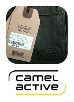 Boven: mijn nieuwe lange broek. De broek en het merk komen me bekend voor. Onder: het 'internationale kledingmerk' camel active.